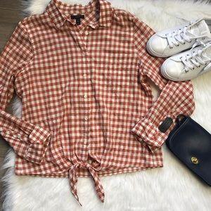 J crew brown tie front gingham boy shirt 12